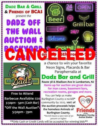 CANCELLED: Dadz Off-the-Wall Auction and Backyard BBQ @ Dadz Bar and Grill | Lumberton | New Jersey | United States